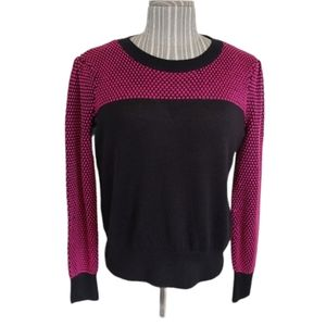 I Heart Ronson Black/Pink Retro Knit Sweater, XL